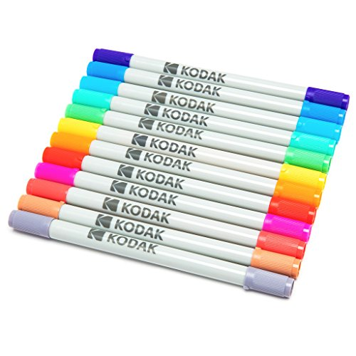 KODAK Twin Tip Color Markers – Set of 12 Double Sided Markers w/Fine & Chisel Tips for 2x3 ZINK Photo Paper, Scrapbooking, Classroom Art Projects & More – Perfect for ()