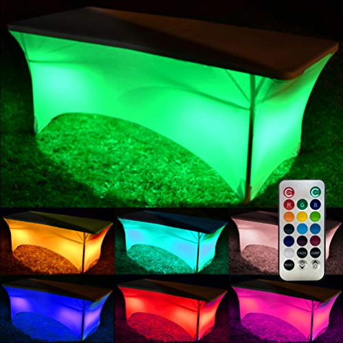 Neon LED Glow Tablecloths for Parties - Light Up Your Event with 13 Vibrant Colors which Auto Change and Fade - Spandex Stretchy Table Cloth in White, with Remote Control, Batteries Included (6FT) -