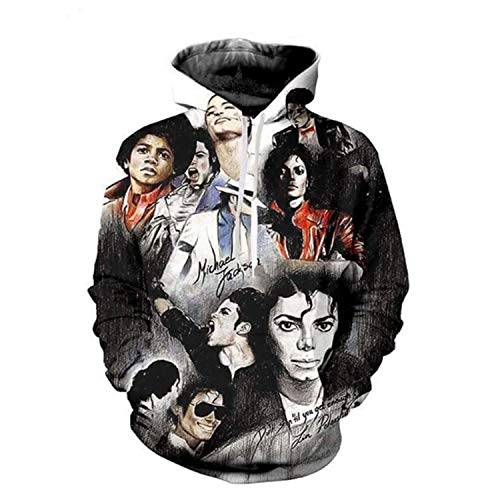 Men Women Michael Jackson Thriller Jacket 3D Printing Sweatshirt Hooded Streetwear,XXXX-Large,Mj ()