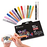 Moomoosh 14 Acrylic Paint Pens (Including 2 Free Fine Liners Worth £4) for Rock Painting, Glass, Porcelain & Ceramics, Slate, Fabrics, Wood, Canvas. Set of 12 Colours + 2 Free Fine Liners