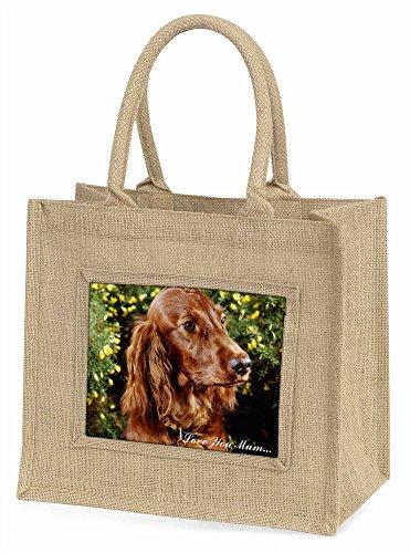 Advanta Irish Red Setter Hunde, LOVE YOU MUM Große Einkaufstasche Weihnachten Geschenk Idee, Jute, beige/natur, 42x 34,5x 2cm