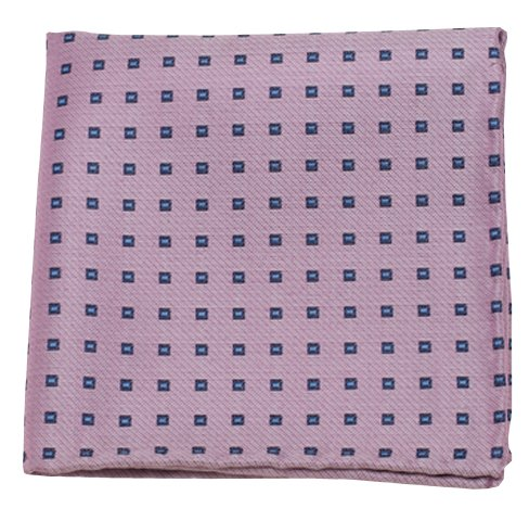 The Tie Bar Essex Check Cotton and Silk Blend Baby Pink Pocket Square ()