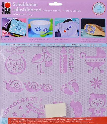 Marabu 027400003 - Schablone selbstklebend Welcome Baby A5