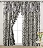 """Grey Curtain Panel with Attached Waterfall Valance 54"""" X 84"""" Tkdecor"""
