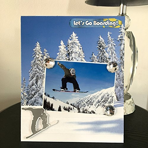 Let#039s Go Snow Boarding Winter Sports Summit Mountain cabin decor family Vacation Great Outdoors gift handmade magnetic picture frame holds 5quotx7quot photo 9quotx 11quot