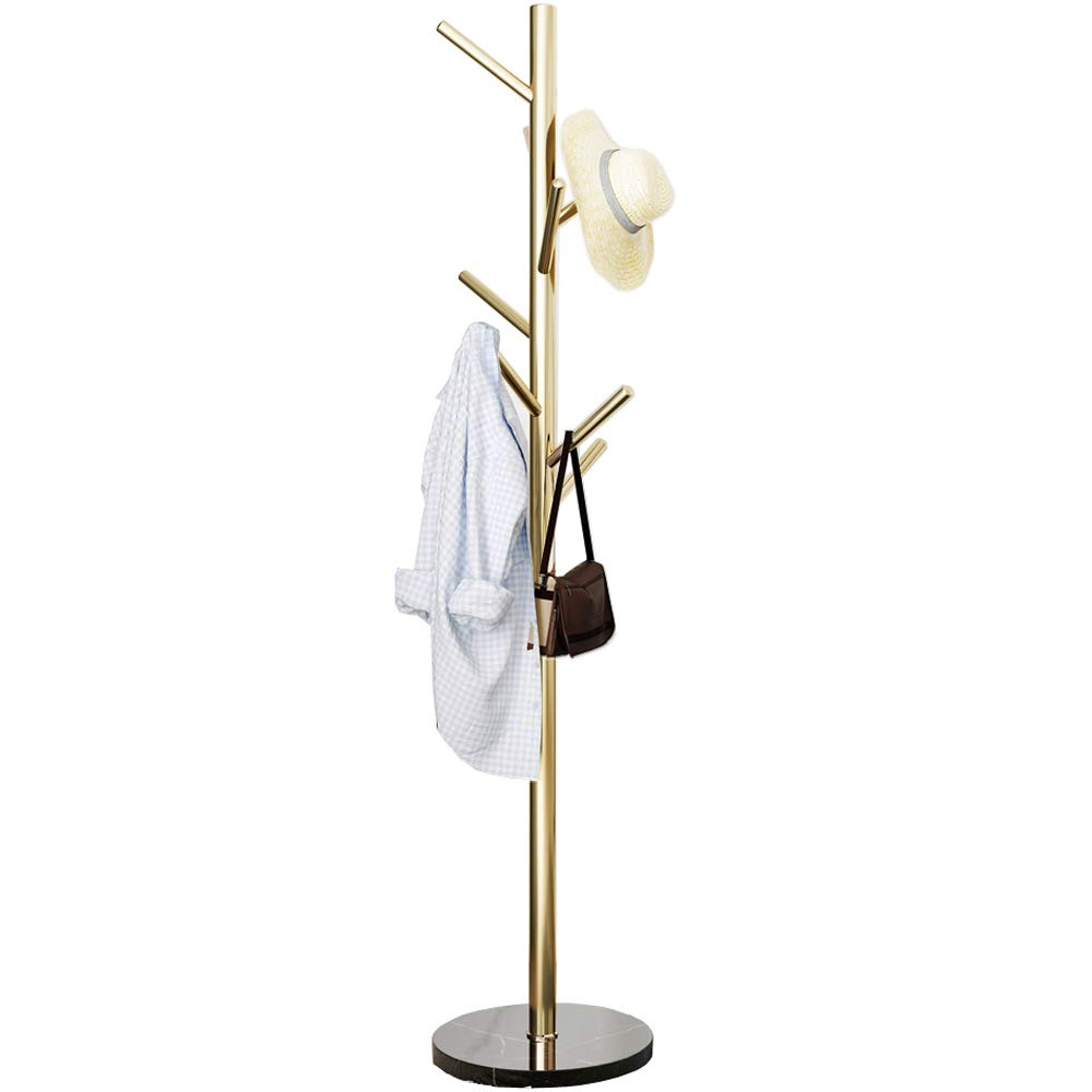 Metal Coat Rack Stand Golden Satin Steel Finish Stable Marble Base, High-Grade with Hooks Metal Tree Hat & Coat Hanger Floor Free Standing Wall Bedroom Easy Assembly (Golden) by Jolitac