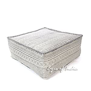 "EYES OF INDIA - 25 X 10"" Grey Grey Square Hmong Ottoman Pouf Pouffe Cover Floor Seating Bohemian Indian Boho"