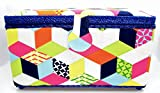 Dritz St. Jane Tumbling Block Design Sewing Basket Rectangle 12x7x6 Inches