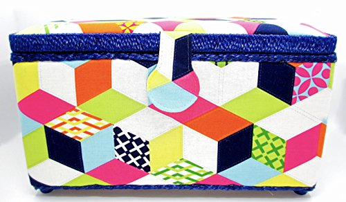 (Dritz St. Jane Tumbling Block Design Sewing Basket Rectangle 12x7x6 Inches)