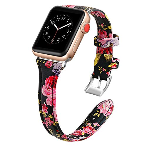 YUNSHU Compatible with Apple Watch Band Replacement Wristband for Apple Watch Series 4 3 2 1 38/40mm with Flower Premium Genuine Leather Metal Plating Buckle iWatch Sport Strap (Black/Pink Floral) ()