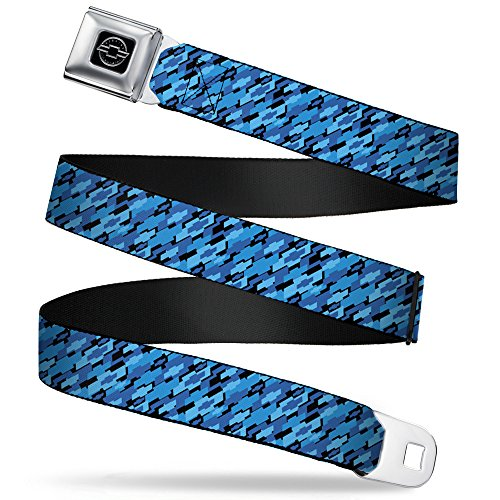 Buckle-Down Seatbelt Belt - Diagonal Retro Chevy Bowtie Stacked Black/Blues - 1.0
