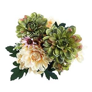 Soledi Seda Artificial Falso 10 Cabezas Ramo de Flores Peonía Hogar Hotel Boda Fiesta Jardín Floral Decoración Crisantemo Europeo