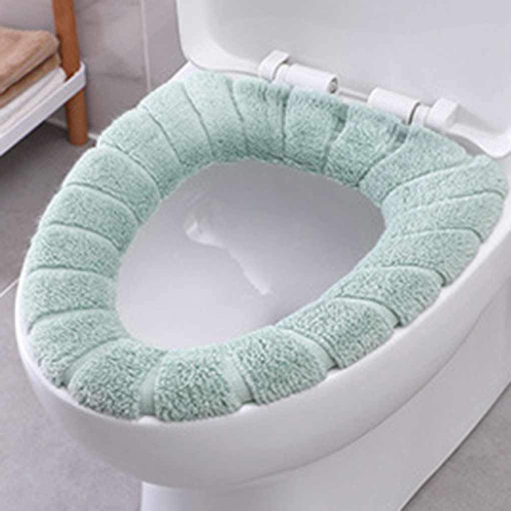 Lorsoul Bathroom Soft Thicker Warmer Stretchable Washable Cloth Toilet Seat Cover Closestool Pads