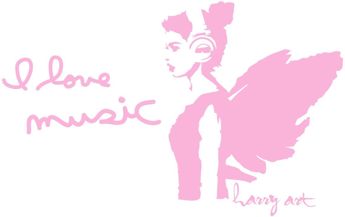 HARRY ART STICKER ウォールステッカー 貼ってはがせる 転写式 I LOVE MUSIC ピンク (約90cm×90cm) AHAT0082PNK B016U4C58Y ピンク ピンク