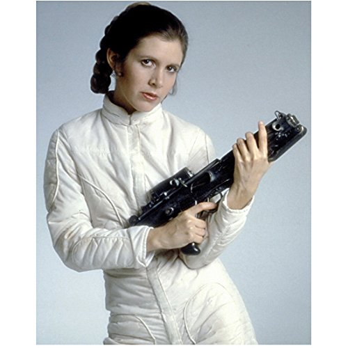 Carrie Fisher as Princess Leia Holding Blaster in White 8 x 10 Inch Photo