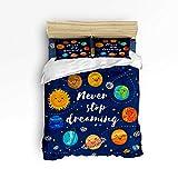 Emoji Bed Set Target Plelat Twin Size 4 Piece Soft Bedding Set Duvet Cover Sets for Children,Cute Emoji Planet Blue Pattern Bed Sheet Set,1 Duvet Cover 1 Flat Sheet and 2 Pillow Cases