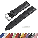 SIMCOLOR Leather Watch Band - Choice of Color & Width (16mm,18mm,20mm,22mm or24mm) Premium Genuine Cowhide Replacement Watch Strap for Men and Women(18mm,Black)