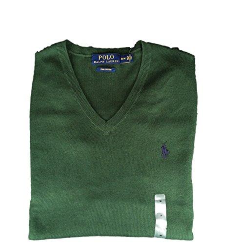 Ralph Lauren Men's Polo V-Neck Pima Cotton Pony Logo Sweater (New Forest, XS)