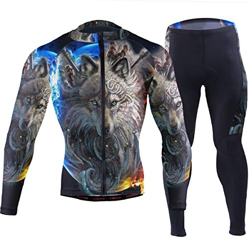 Wolf Dreamcatcher Indian Save Men's Cycling Jersey Set Breathable Quick-Dry MTB Road Bike Luxury Black