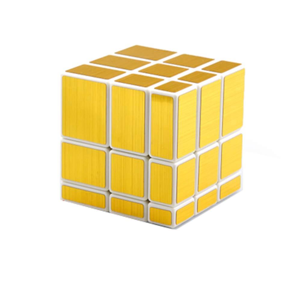 JIAAE 3X3 Mirror Surface Rubik's Cube Children Puzzle Shaped Rubik,White+Gold