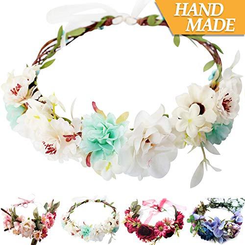 (Handmade Adjustable Flower Wreath Headband Halo Floral Crown Garland Headpiece Wedding Festival Party (C1-Light)