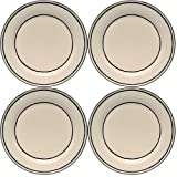 Caffco International M.Bagwell Collection Ceramic Dinner Plates, Cream Black, Set of 4
