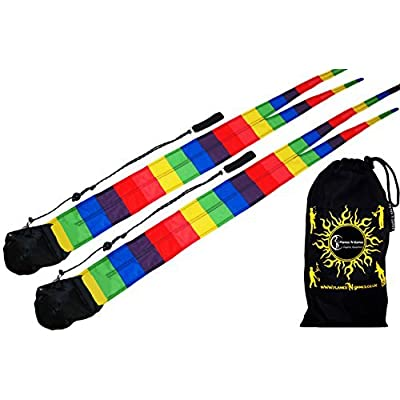 RAINBOW Pro Fabric Poi - Long Tail Practice Poi + Travel Bag. Spinning Poi Set by Flames N Games.: Toys & Games