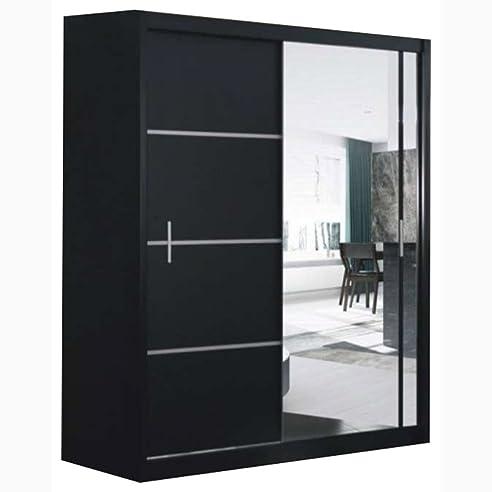 Schwebetürenschrank spiegel schwarz  JUSTyou Porto Vista 150 Schwebetürenschrank Kleiderschrank ...