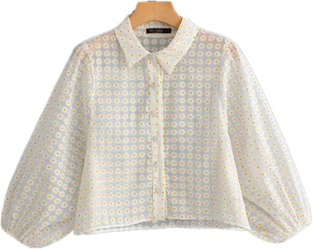 ZLYCP Blusas de manga de farol floral para mujer, camisas de perspectiva, camisas de cuello descubierto, flores, blusas casuales: Amazon.es: Ropa y accesorios