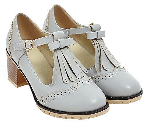 AgooLar Damen Mittler Absatz Blend-Materialien Fransig Schnalle Pumps Schuhe Grau