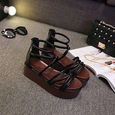 LvYuan Mujer-Tacón Plano-Confort-Sandalias-Vestido Informal-PU-Negro Beige Black