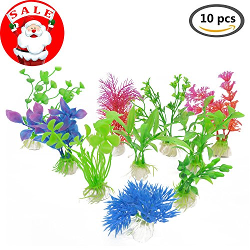 250 Die - HungMeo Aquarium Fish Tank Decor Green Red Plastic Artificial Plants Decoration Ornament Home Décor Plastic Assorted Color, Small & Large Size 3.5 to 11 inch Approximate Height 10 Pieces (S-10pcs)