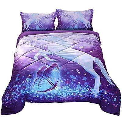ENCOFT 3D Unicorn Comforter Set White Unicorn and Butterfly Playing in Wonderland Purple Quilt Set Cotton Bedspread Set, Full: Home & Kitchen