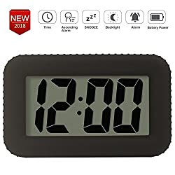 Digital Alarm Clock Table Electronic Clock with Rubber Case Display Time/Alarm, Snooze/Backlight, Adjustable Light Dimmer Battery Bedside Desk/Shelf Clock for Kids/Teens/Home/Office/Travel, Black