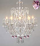 Wrought Iron & Crystal Chandelier Authentic Empress Crystal(TM) Chandelier Lighting Chandeliers with Pink Hearts! Nursery, Kids, Girls Bedrooms, Kitchen, Etc.
