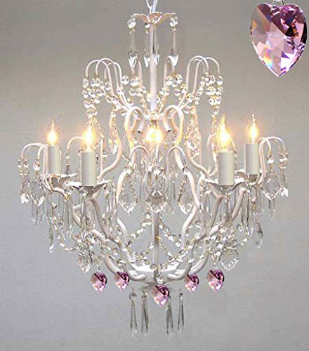 - White Wrought Iron Crystal Chandelier Lighting Country French, 5 Lights, Ceiling Fixture with Pink Hearts Nursery, Kids, Girls Bedrooms, Kitchen