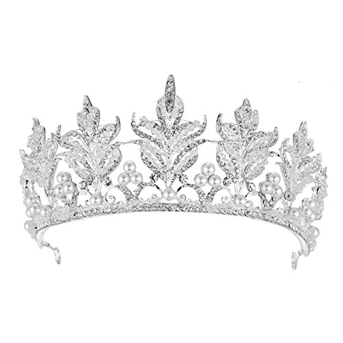 FF Sparkling Pageant Crown Wedding Tiaras for Brides with Pearls Silver Plated