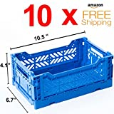10 x AY-KASA Collapsible Storage Bin Container Basket Tote , Folding Basket CRATE Container : Storage , Kitchen , Houseware Utility Basket Tote Crate Mini-BOX (BLUE)