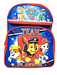 """New Nickelodeon Paw Patrol 12"""" Canvas Blue & Red School Backpack"""