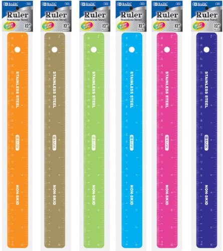 Assorted Color 12'' (30cm) Stainless Steel Ruler 288 pcs sku# 1475979MA