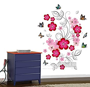 Buy StickerShopee Pink Floral 3D Wall Stickers Online at Low