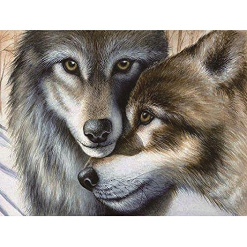 Wolf 5D Diamond Painting by Number Kit, Staron DIY Diamond Embroidery Painting Cross Stitch Kit 5D Diamond Crystal Rhinestone Embroidery Painting DIY Art Craft Canvas Wall Decor (Wolf Lover 2❤️)