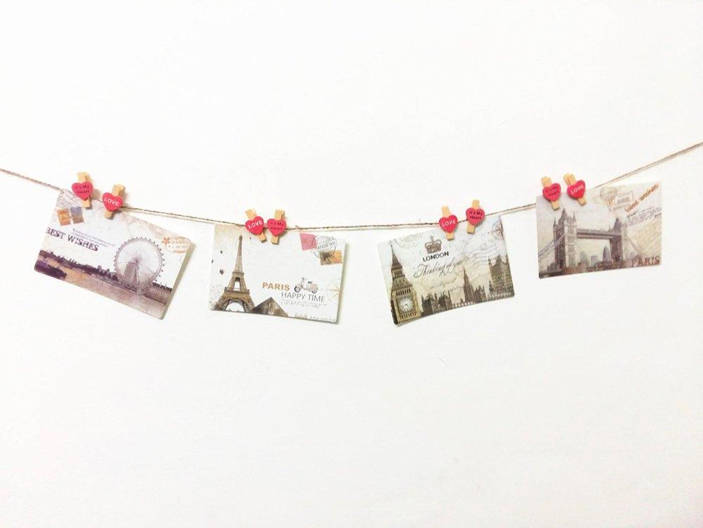 Cosanter 10 Piezas Mini Pinzas de Madera con Coraz/ón Adorno para Fotograf/ías y para Colgar Regalos Color Rosa
