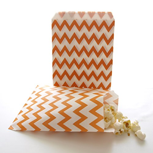 Orange Dessert Bar To-go Snack Bags, Paper Chevron Bags, Fall Wedding Favors, Orange Chevron Bags (25 (Halloween Sandwich Bag Toppers)