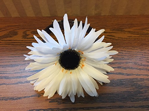 White satin flower-Dog Accessory by Creations by Glo