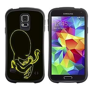 Suave TPU Caso Carcasa de Caucho Funda para Samsung Galaxy S5 SM-G900 / Yellow Glowing Abstract / STRONG