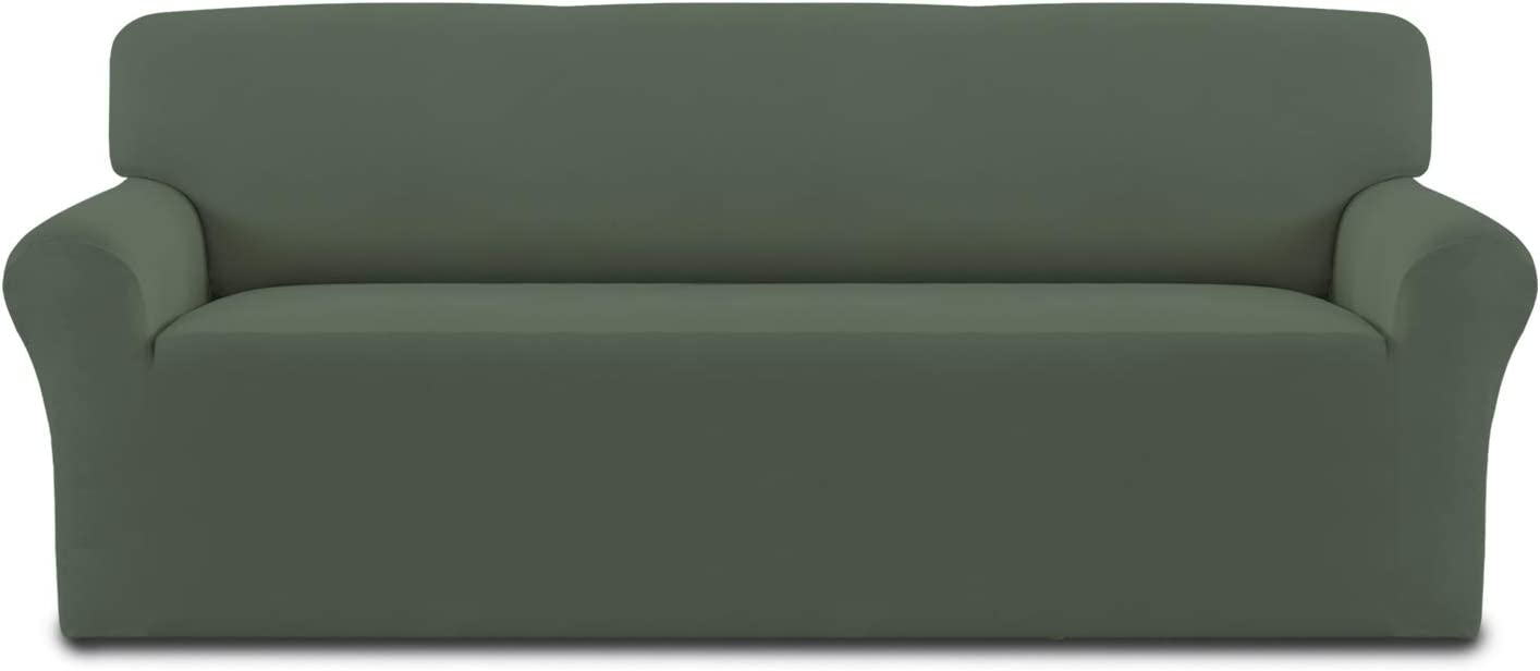 Easy-Going Fleece Stretch Sofa Slipcover – Spandex Anti-Slip Soft Couch Sofa Cover, Washable Furniture Protector with Anti-Skid Foam and Elastic Bottom for Kids, Pets(Sofa,Grayish Green)