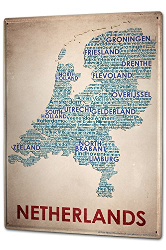 Tin Sign XXL Holiday Travel Agency map Netherlands by LEOTIE