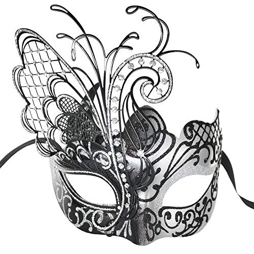 (CCUFO Masquerade Venetian Luxury Face Mask for Women Metal Sparkling Butterfly | Party, Ballroom, Fancy Prom, Mardi Gras, Wedding, Wall Decoration (Silver/Black)