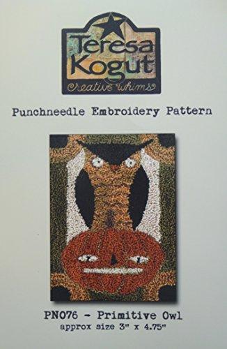 Primitive Owl Jack O Lantern Halloween PN076 Punchneedle Punch Needle Embroidery Teresa Kogut Pattern